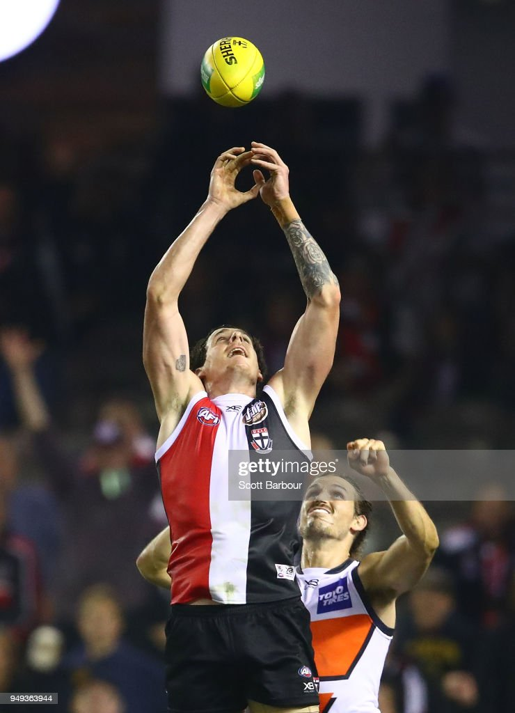 Jake Carlisle of the Saints drops a mark in the final seconds of the match during the round five AFL match between the St Kilda Saints and the Greater Western Sydney Giants at Etihad Stadium on April 21, 2018 in Melbourne, Australia.