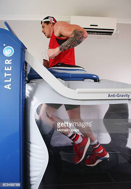 Jake Carlisle of the Saints trains in an AntiGravity treadmill in a high altitude chamber during a St Kilda Saints AFL preseason training session at...