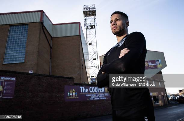 Jake Carroll is pictured during a Motherwell press conference at Fir Park , on January 22 in Motherwell, Scotland.