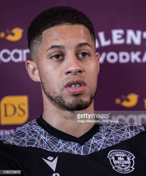 Jake Carroll talks to the media during a Motherwell press conference at Fir Park , on January 22 in Motherwell, Scotland.