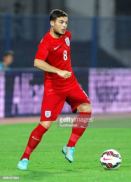 Jake Caskey of England in action during the UEFA U21 Championship Playoff Second Leg match between Croatia and England at the Stadion Hnk Cibalia on...
