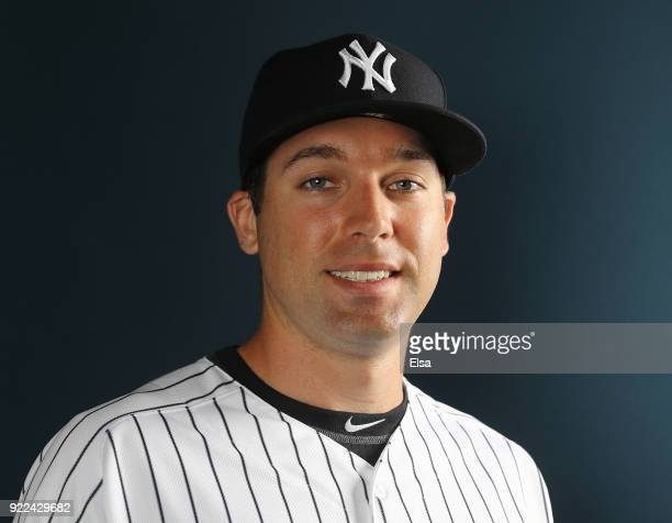 Jake Cave of the New York Yankees poses for a portrait during the New York Yankees photo day on February 21 2018 at George M Steinbrenner Field in...