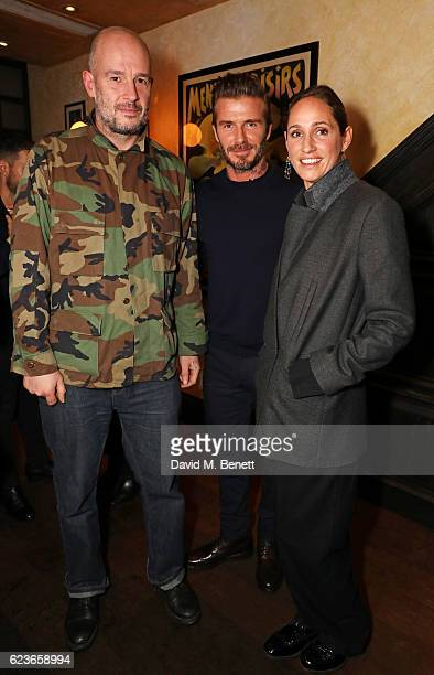 Jake Chapman David Beckham and Rosemary Ferguson attend the Kent Curwen dinner with Mr Porter at Little Social on November 16 2016 in London England