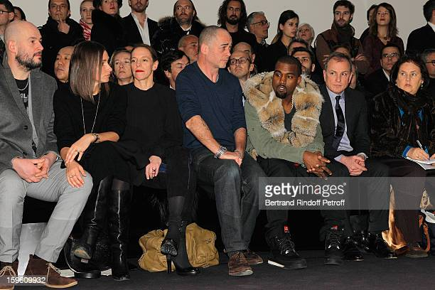 Jake Chapman guest Tiphaine de Lussy Dinos Chapman Kanye West Michael Burke and Suzy Menkes attend the Louis Vuitton Men Autumn / Winter 2013 show as...
