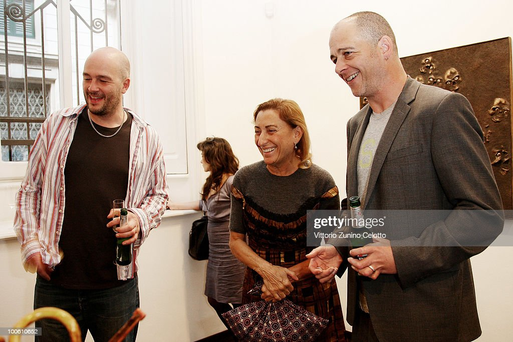 Jake Chapman, Miuccia Prada, Dinos Chapman attend the Jake And Dinos Chapman Opening At The ProjectB Gallery on May 25, 2010 in Milan, Italy.