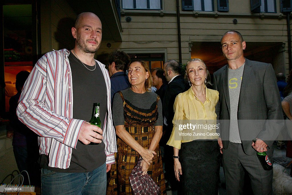 Jake Chapman, Miuccia Prada, Franca Sozzani, Dinos Chapman attend the Jake And Dinos Chapman Opening At The ProjectB Gallery on May 25, 2010 in Milan, Italy.