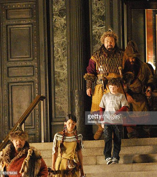 Jake Cherry and Mizio Peck return as Nick Daley and Sacagawea for Night at the Museum 2 at The Museum of Natural History on August 19 2008 in New...