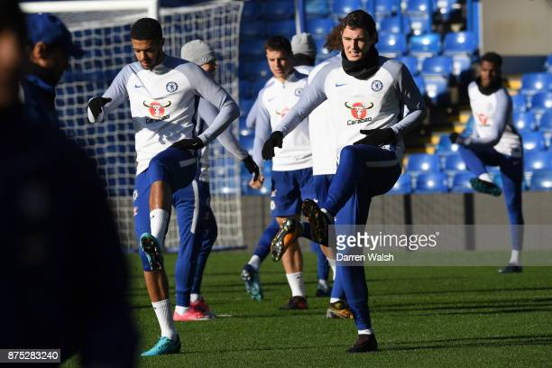 Jake ClarkeSalter and Andreas Christensen of Chelsea during a training session at Stamford Bridge on November 17 2017 in London England