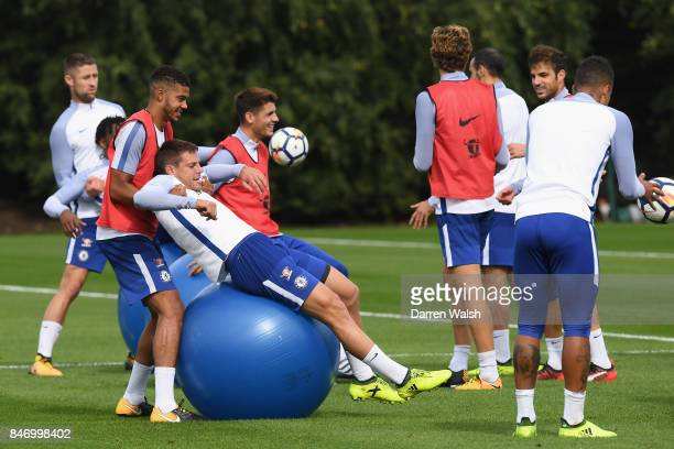Jake ClarkeSalter and Cesar Azpilicueta of Chelsea during a training session at Chelsea Training Ground on September 14 2017 in Cobham England