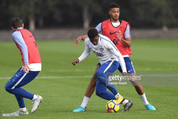 Jake ClarkeSalter and Dujon Sterling of Chelsea during a training session at Chelsea Training Ground on November 3 2017 in Cobham England