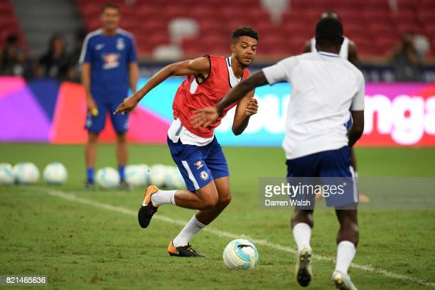Jake Clarke-Salter of Chelsea during a training session at Singapore National Stadium on July 24, 2017 in Singapore.