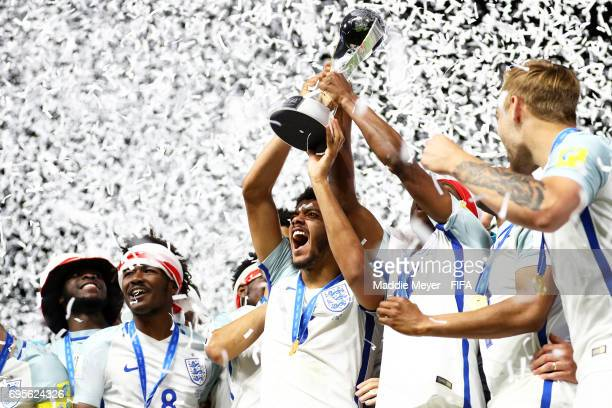Jake ClarkeSalter of England hoists the winners trophy over his head after England defeat Venezuela 10 in the FIFA U20 World Cup Korea Republic 2017...