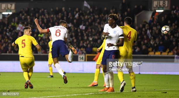 Jake ClarkeSalter of England scores his team's second goal during the International Friendly between England U21 and Romania U21 at Molineux on March...