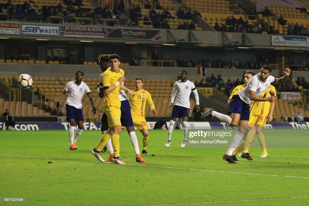 Jake Clarke-Salter of England scores their 2nd goal during the U21 International Friendly match between England U21 and Romania U21 at Molineux on March 24, 2018 in Wolverhampton, England.