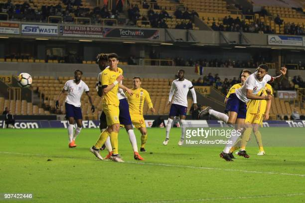 Jake ClarkeSalter of England scores their 2nd goal during the U21 International Friendly match between England U21 and Romania U21 at Molineux on...