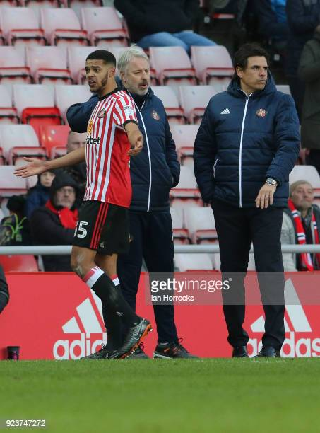 Jake ClarkeSalter of Sunderland is sent off during the Sky Bet Championship match between Sunderland and Middlesbrough at Stadium of Light on...