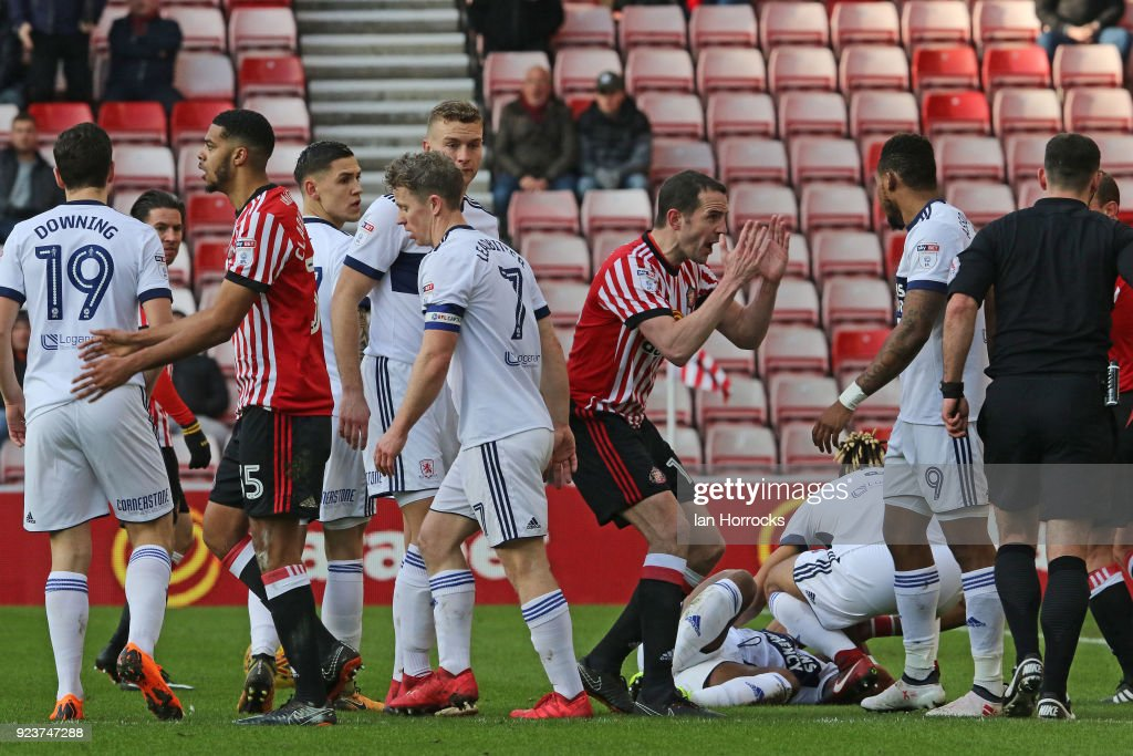 Jake Clarke-Salter of Sunderland (#35) is sent off whilst his team-mate John O'Shea reacts during the Sky Bet Championship match between Sunderland and Middlesbrough at Stadium of Light on February 24, 2018 in Sunderland, England.