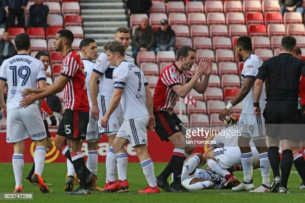 Jake ClarkeSalter of Sunderland is sent off whilst his teammate John O'Shea reacts during the Sky Bet Championship match between Sunderland and...