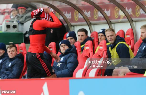 Jake ClarkeSalter walks off after being sent off during the Sky Bet Championship match between Sunderland and Preston North End at Stadium of Light...