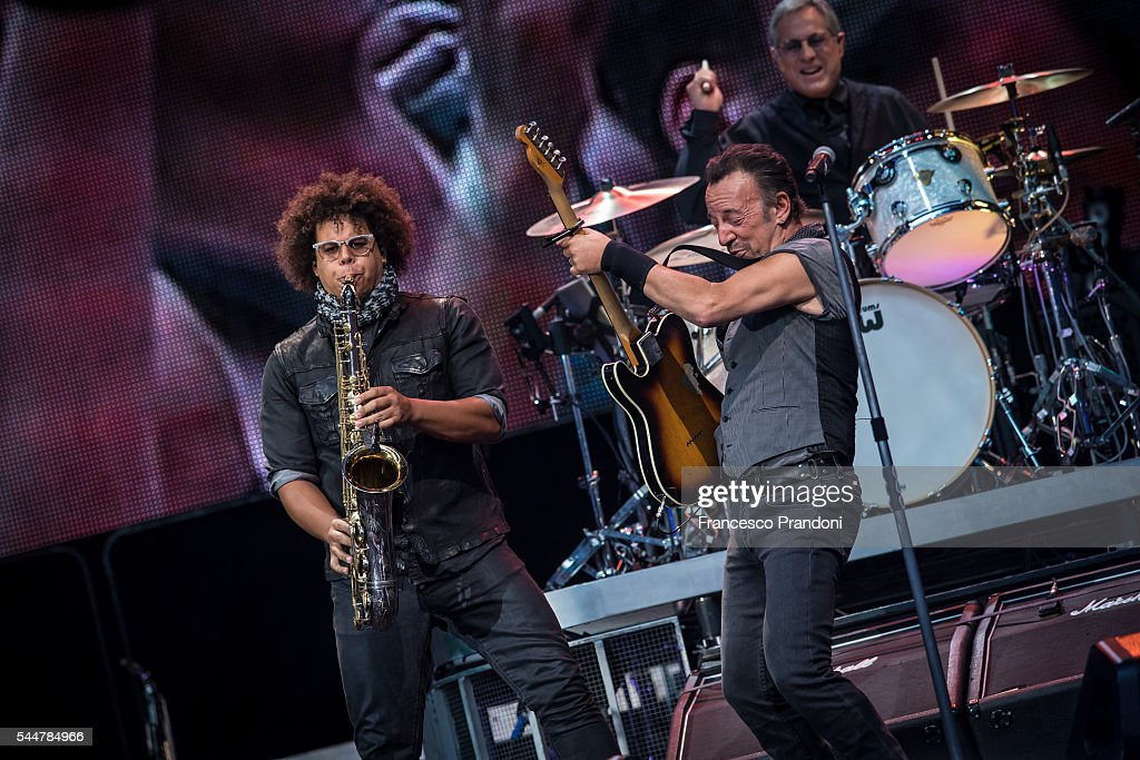 Jake Clemons and Bruce Springsteen performs concert on July 3, 2016 in Milan, Italy.
