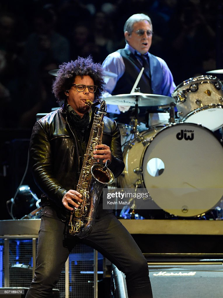 Jake Clemons (L) and Max Weinberg perform at Madison Square Garden on January 27, 2016 in New York City.