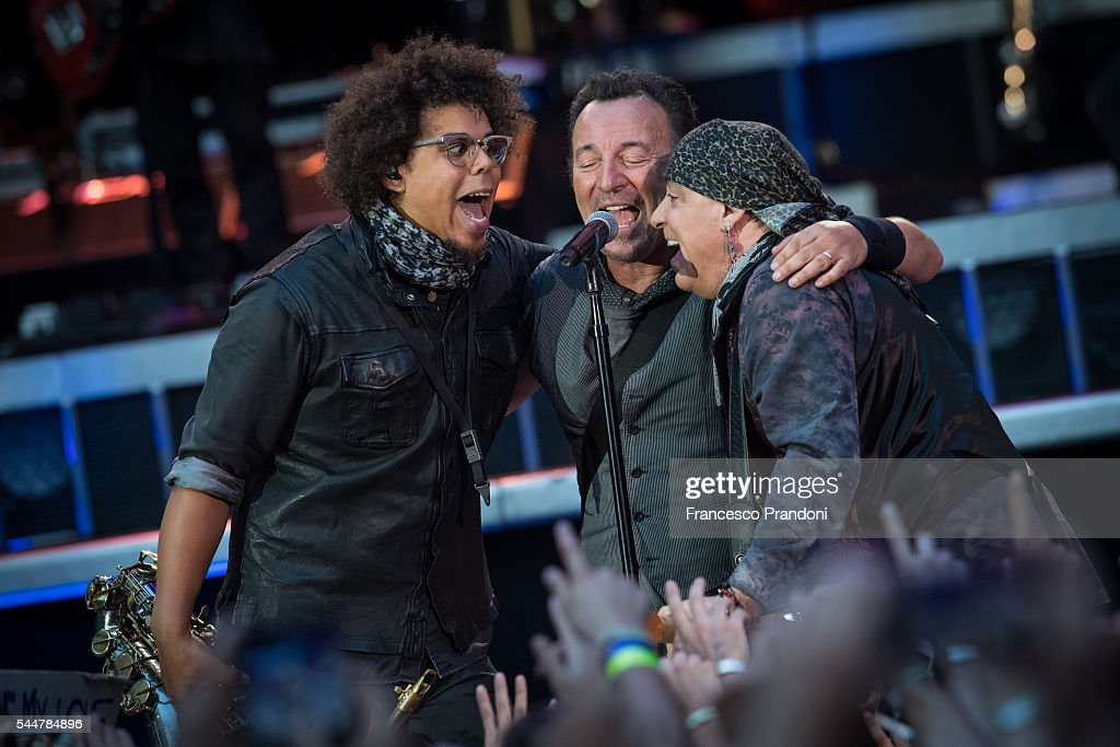 Jake Clemons Bruce Springsteen and Steven Van Zandt performs concert on July 3, 2016 in Milan, Italy.