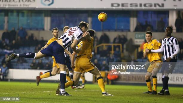 Jake Cooper of Millwall scores his sides second goal during the Sky Bet League One match between Millwall and Port Vale at The Den on February 14...