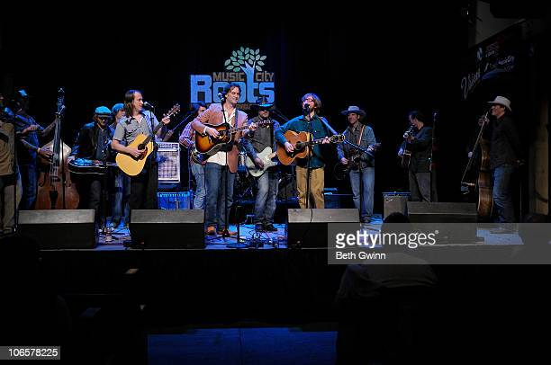 Jake Cox Todd Livingston Dominick Leslie Nick Randolph Shawn Davis Matthew Milia Phil Hurley Jared Green and Dave Phenicie play the Music City Roots...