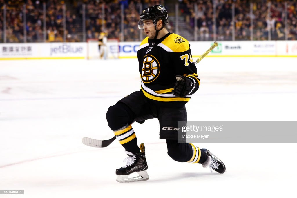 Jake DeBrusk #74 of the Boston Bruins celebrates after scoring against the Carolina Hurricanes during the first period at TD Garden on January 6, 2018 in Boston, Massachusetts.