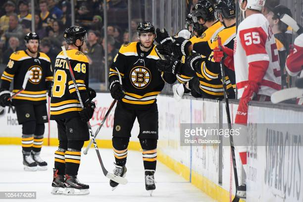 Jake DeBrusk of the Boston Bruins celebrates his goal against the Detroit Red Wings at the TD Garden on October 13 2018 in Boston Massachusetts