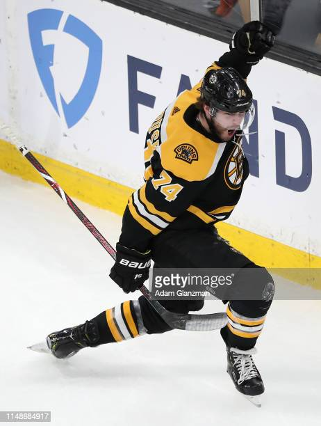 Jake DeBrusk of the Boston Bruins celebrates scoring a first period goal against the Carolina Hurricanes in Game Two of the Eastern Conference Final...
