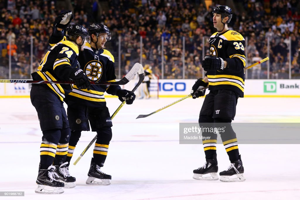 Jake DeBrusk #74 of the Boston Bruins celebrates with Ryan Spooner #51 and Zdeno Chara #33 after scoring a goal against the Carolina Hurricanes during the first period at TD Garden on January 6, 2018 in Boston, Massachusetts.
