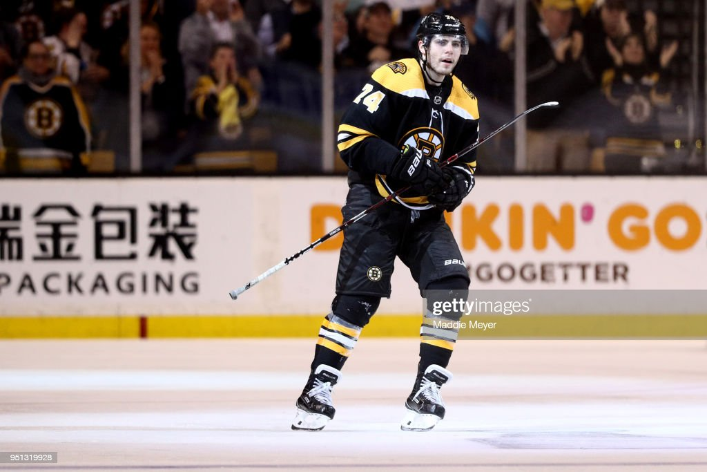 Jake DeBrusk #74 of the Boston Bruins looks on after scoring a goal against the Toronto Maple Leafs during the third period of Game Seven of the Eastern Conference First Round in the 2018 Stanley Cup play-offs at TD Garden on April 25, 2018 in Boston, Massachusetts. The Bruins defeat the Maple Leafs 7-4.