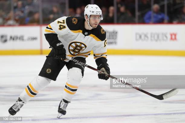 Jake DeBrusk of the Boston Bruins plays the Colorado Avalanche at the Pepsi Center on November 14 2018 in Denver Colorado