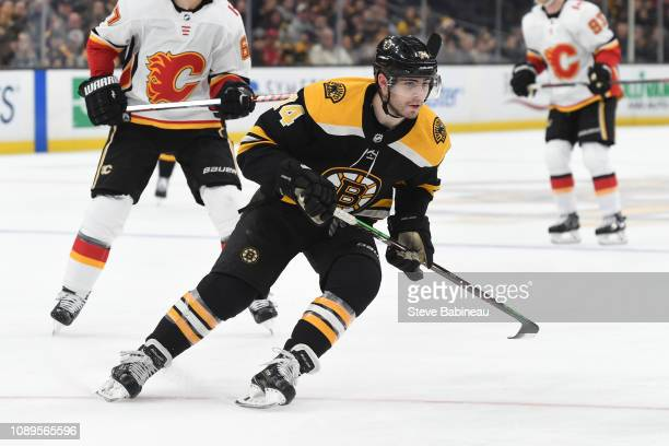 Jake DeBrusk of the Boston Bruins skates against the Calgary Flames at the TD Garden on January 3 2019 in Boston Massachusetts
