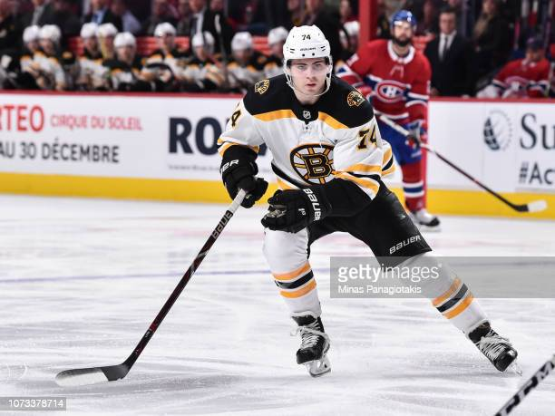 Jake DeBrusk of the Boston Bruins skates against the Montreal Canadiens during the NHL game at the Bell Centre on November 24 2018 in Montreal Quebec...