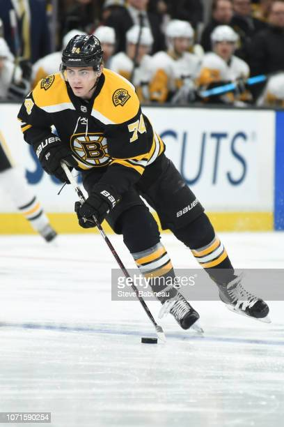 Jake DeBrusk of the Boston Bruins skates against the Pittsburgh Penguins at the TD Garden on November 23 2018 in Boston Massachusetts