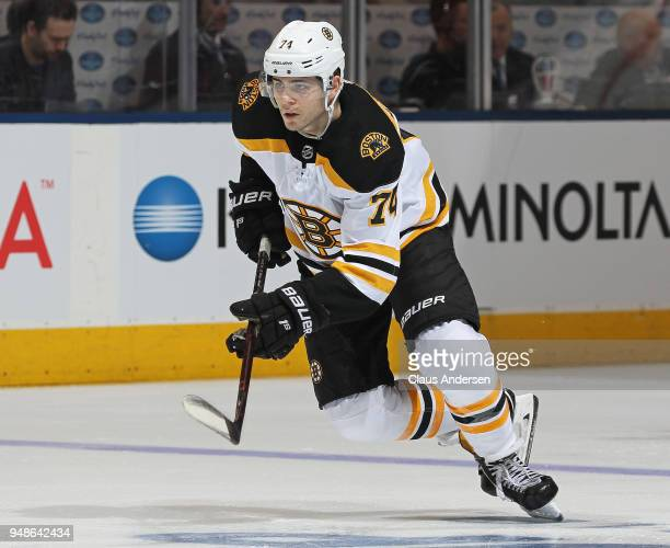 Jake DeBrusk of the Boston Bruins skates against the Toronto Maple Leafs in Game Three of the Eastern Conference First Round during the 2018 Stanley...