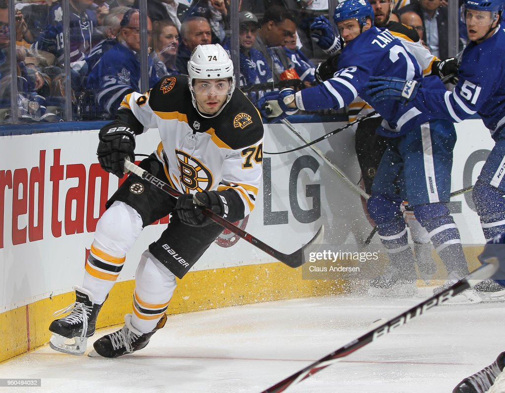Jake DeBrusk #74 of the Boston Bruins skates against the Toronto Maple Leafs in Game Six of the Eastern Conference First Round in the 2018 Stanley Cup Play-offs at the Air Canada Centre on April 23, 2018 in Toronto, Ontario, Canada. The Maple Leafs defeated the Bruins 3-1.