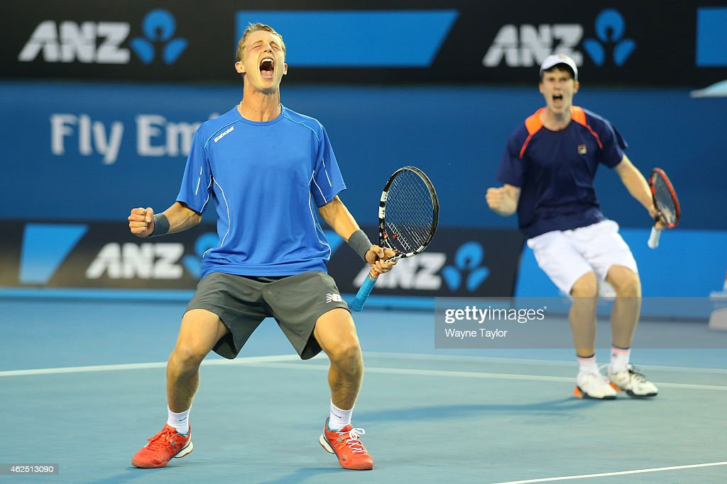 Jake Delaney of Australia and Marc Polmans of Australia celebrates winning their Junior Boys' Doubles Final against Hubert Hurkacz of Poland and Alex Molcan of Slovakia during the Australian Open 2015 Junior Championships at Melbourne Park on January 30, 2015 in Melbourne, Australia.