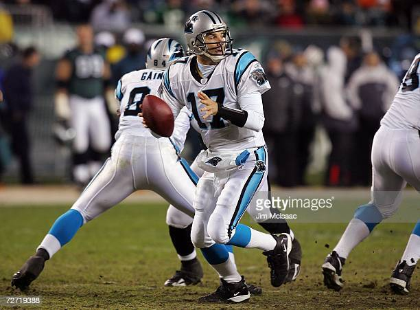 Jake Delhomme of the Carolina Panthers drops back against the Philadelphia Eagles at Lincoln Financial Field on December 4 2006 in Philadelphia...