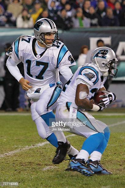 Jake Delhomme of the Carolina Panthers hands off to DeAngelo Williams against the Philadelphia Eagles at Lincoln Financial Field on December 4 2006...