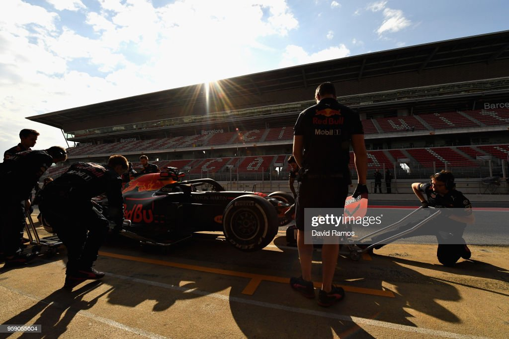 Jake Dennis of Great Britain and Red Bull Racing prepares to drive in the Pitlane during day two of F1 testing at Circuit de Catalunya on May 16, 2018 in Montmelo, Spain.