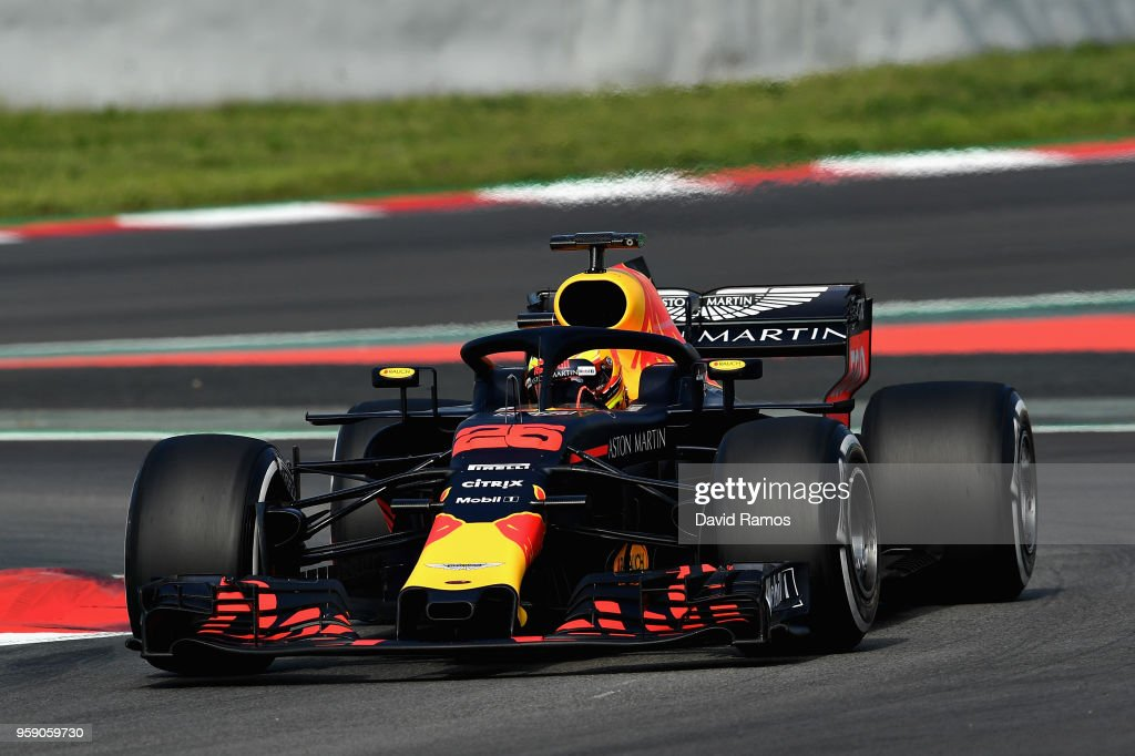 Jake Dennis of Great Britain driving the (25) Aston Martin Red Bull Racing RB14 TAG Heuer during day two of F1 testing at Circuit de Catalunya on May 16, 2018 in Montmelo, Spain.