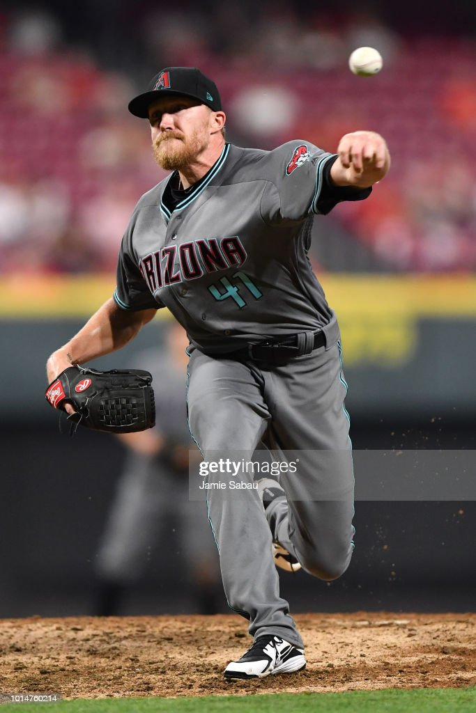 Jake Diekman #41 of the Arizona Diamondbacks pitches in the eighth inning against the Cincinnati Reds at Great American Ball Park on August 10, 2018 in Cincinnati, Ohio. Cincinnati defeated Arizona 3-0.