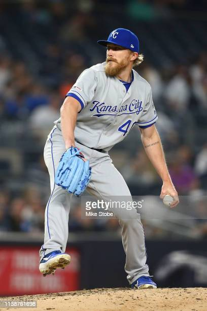 Jake Diekman of the Kansas City Royals in action the New York Yankees at Yankee Stadium on April 19 2019 in New York City New York Yankees defeated...