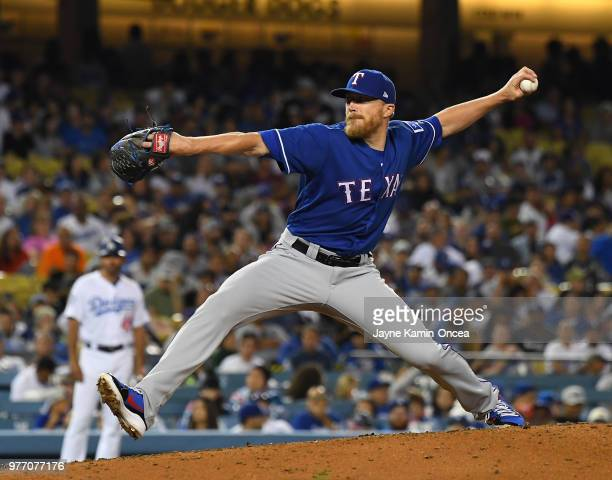 Jake Diekman of the Texas Rangers pitches in the game against the Los Angeles Dodgers at Dodger Stadium on June 13 2018 in Los Angeles California