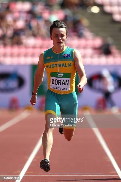 Jake Doran of Australia in action during the mens 100m heat on day one of The IAAF World U20 Championships on July 10 2018 in Tampere Finland