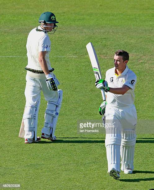 Jake Doran of Australia takes the applause for reaching 100 during the Under19 Test Match between England and Australia at The Emirates Durham ICG on...