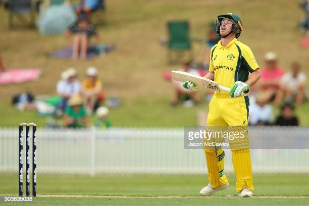 Jake Doran of CA XI reacts during the One Day Tour Match between the Cricket Australia XI and England at Drummoyne Oval on January 11 2018 in Sydney...